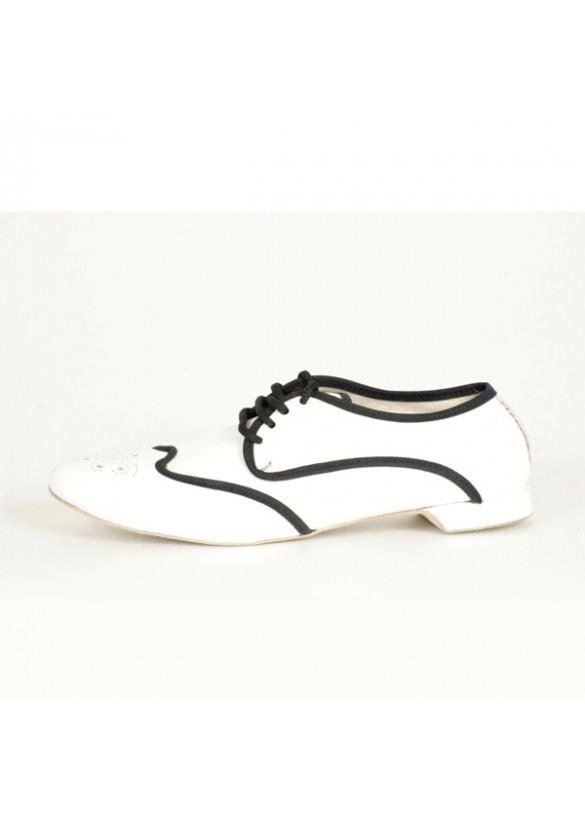 c53557f85 Dance shoes white leather black border heel 0.40 inch art. palladium