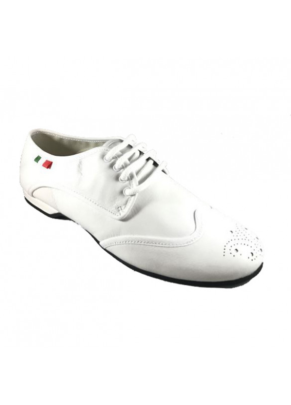 Dance shoes white leather heel 0.40