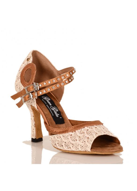 Dance shoes flash lace cuban heel 3,5 inch